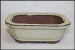 Bonsai Pot, Rectangle, 13cm, Cream, Glazed